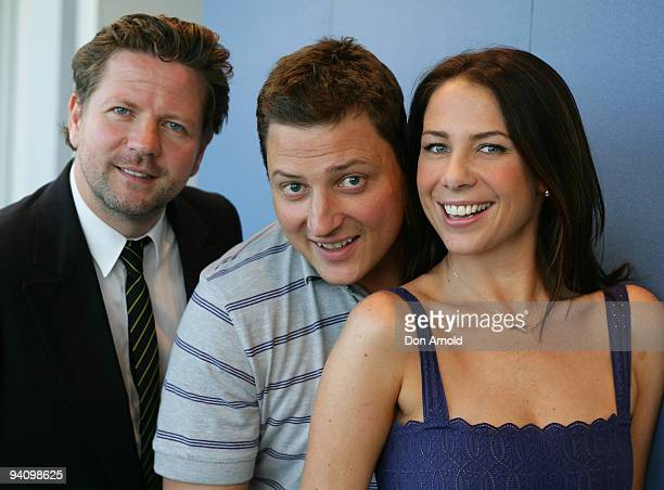 Tim Ross Merrick Watts and Kate Ritchie pose during their last day together on the Merrick Rosso and Kate Ritchie Nova breakfast show at Nova's...