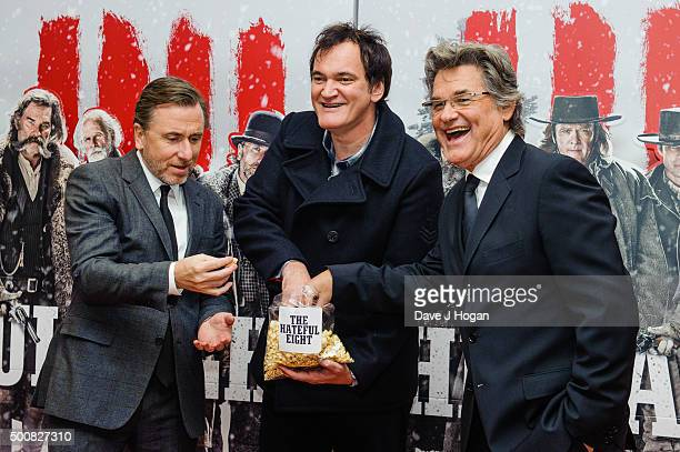 Tim Roth Quentin Tarantino and Kurt Russell attend the European Premiere of 'The Hateful Eight' at Odeon Leicester Square on December 10 2015 in...