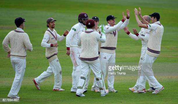Tim Rouse of Somerset celebrates after running out Rory Burns of Surrey during Day Two of the Specsavers County Championship Division One match...