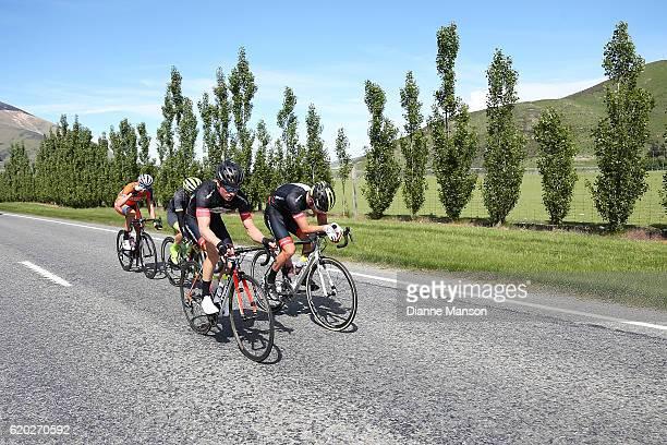 Tim Rush of Oamaru land Regan Gough of Waipukurau lead the breakaway group towards Coronet Peak from Mossburn during stage three of the 2016 Tour of...