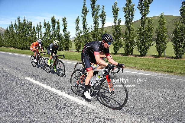 Tim Rush of Oamaru leads the breakaway group towards Coronet Peak from Mossburn during stage three of the 2016 Tour of Southland on November 02 2016...