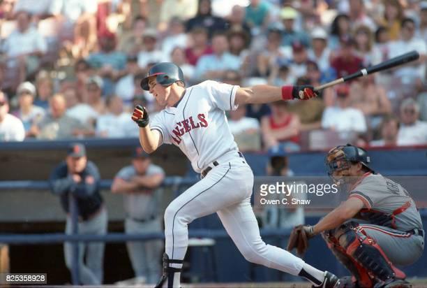 Tim Salmon of the California Angels bats at the Big A circa 1992 in Anaheim California