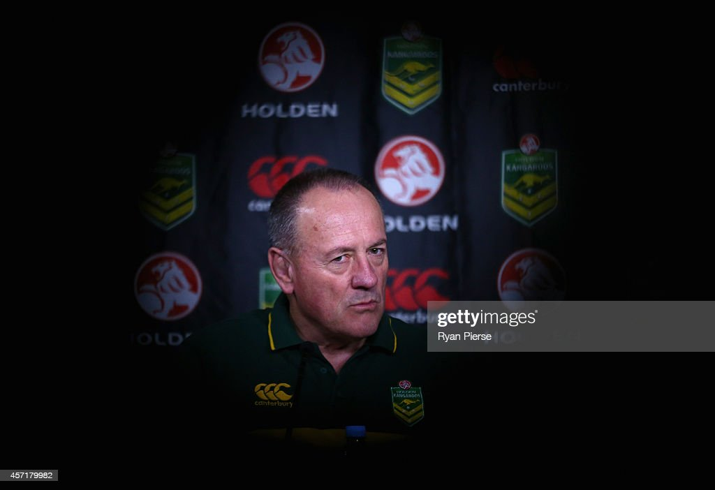 Tim Sheens, coach of Australia, speaks to the media during the Australian Four Nations squad announcement at Rugby League Central on October 14, 2014 in Sydney, Australia.