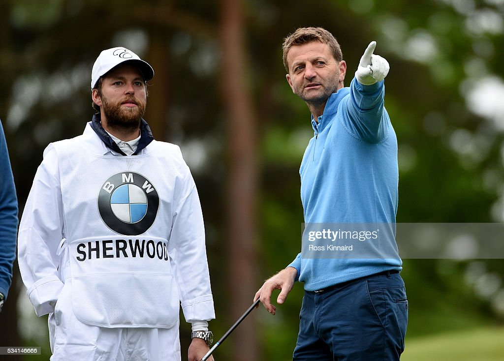 <a gi-track='captionPersonalityLinkClicked' href=/galleries/search?phrase=Tim+Sherwood&family=editorial&specificpeople=4503354 ng-click='$event.stopPropagation()'>Tim Sherwood</a> gestures during the Pro-Am prior to the BMW PGA Championship at Wentworth on May 25, 2016 in Virginia Water, England.