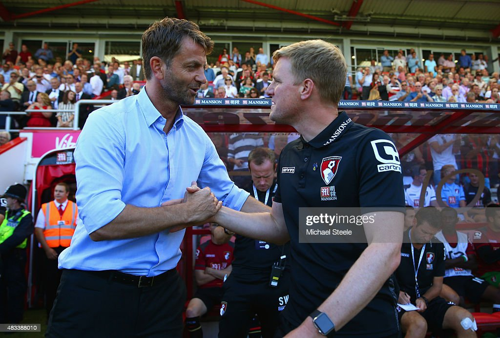 Tim Sherwood Manager of Aston Villa and Eddie Howe Manager of Bournemouth shake hands prior to the Barclays Premier League match between A.F.C. Bournemouth and Aston Villa at Vitality Stadium on August 8, 2015 in Bournemouth, England.