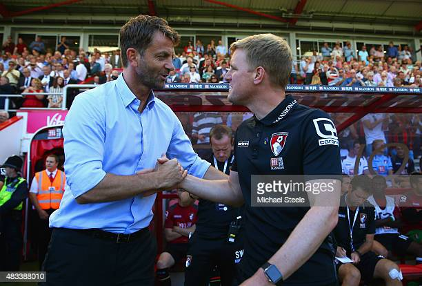 Tim Sherwood Manager of Aston Villa and Eddie Howe Manager of Bournemouth shake hands prior to the Barclays Premier League match between AFC...