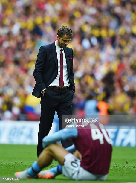 Tim Sherwood manager of Aston Villa and Jack Grealish of Aston Villa look dejected in defeat after the FA Cup Final between Aston Villa and Arsenal...