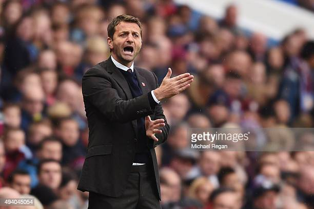 Tim Sherwood Manager of Aston Villa gestures during the Barclays Premier League match between Aston Villa and Swansea City at Villa Park on October...