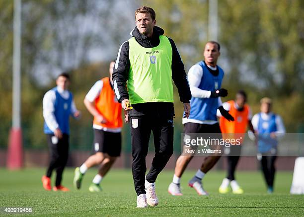 Tim Sherwood manager of Aston Villa in action during a Aston Villa training session at the club's training ground at Bodymoor Heath on October 23...