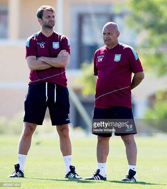 Tim Sherwood manager of Aston Villa in action with Ray Wilkins the assistant manger of Aston Villa during an Aston Villa training session at the...