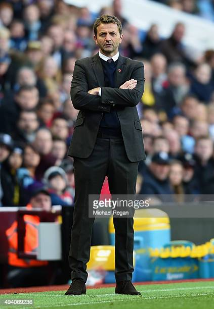 Tim Sherwood Manager of Aston Villa looks on during the Barclays Premier League match between Aston Villa and Swansea City at Villa Park on October...