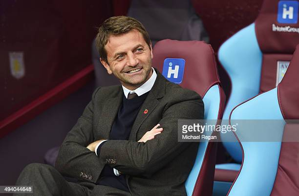 Tim Sherwood Manager of Aston Villa looks on prior to the Barclays Premier League match between Aston Villa and Swansea City at Villa Park on October...
