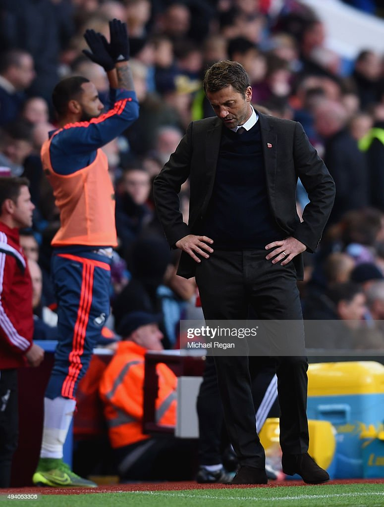 Tim Sherwood Manager of Aston Villa reacts after Swansea City's second goal during the Barclays Premier League match between Aston Villa and Swansea City at Villa Park on October 24, 2015 in Birmingham, England.