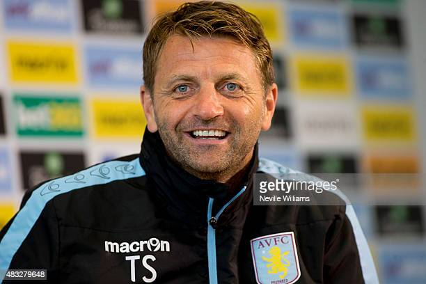 Tim Sherwood manager of Aston Villa talks to the press during a press conference at the club's training ground at Bodymoor Heath on August 07 2015 in...