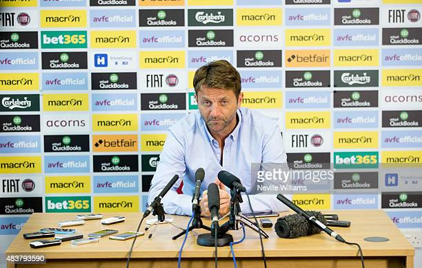 Tim Sherwood manager of Aston Villa talks to the press during a press conference at the club's training ground at Bodymoor Heath on August 13 2015 in...