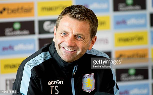 Tim Sherwood manager of Aston Villa talks to the press during a press conference at the club's training ground at Bodymoor Heath on October 02 2015...