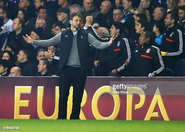 Tim Sherwood manager of Tottenham Hotspur reacts as Luisao of Benfica scores their second goal during the UEFA Europa League Round of 16 first leg...