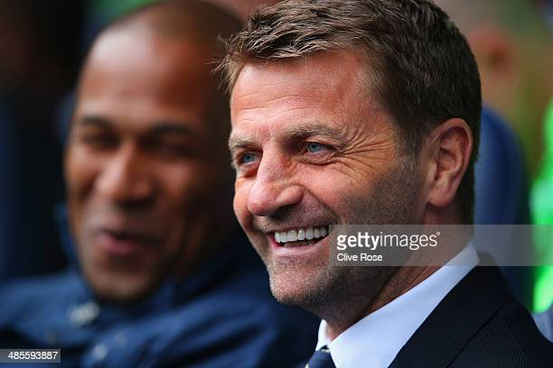 Tim Sherwood manager of Tottenham Hotspur smiles during the Barclays Premier League match between Tottenham Hotspur and Fulham at White Hart Lane on...