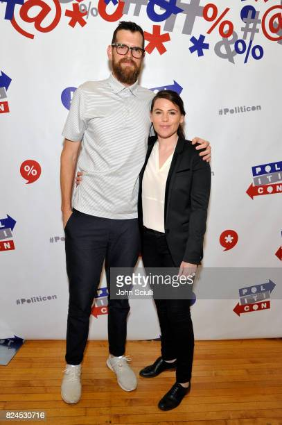 Tim Simons and Clea Duvall at Politicon at Pasadena Convention Center on July 30 2017 in Pasadena California