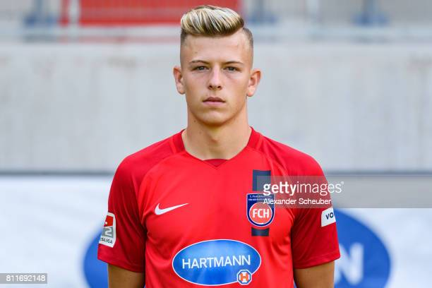 Tim Skarke of 1 FC Heidenheim poses during the team presentation at Voith Arena on July 8 2017 in Heidenheim Germany