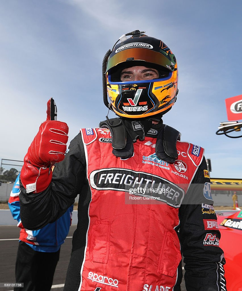 Tim Slade driver of the Freightliner Racing Holden celebrates after taking pole position for rac 10 at the V8 Supercars Winton round at Winton...