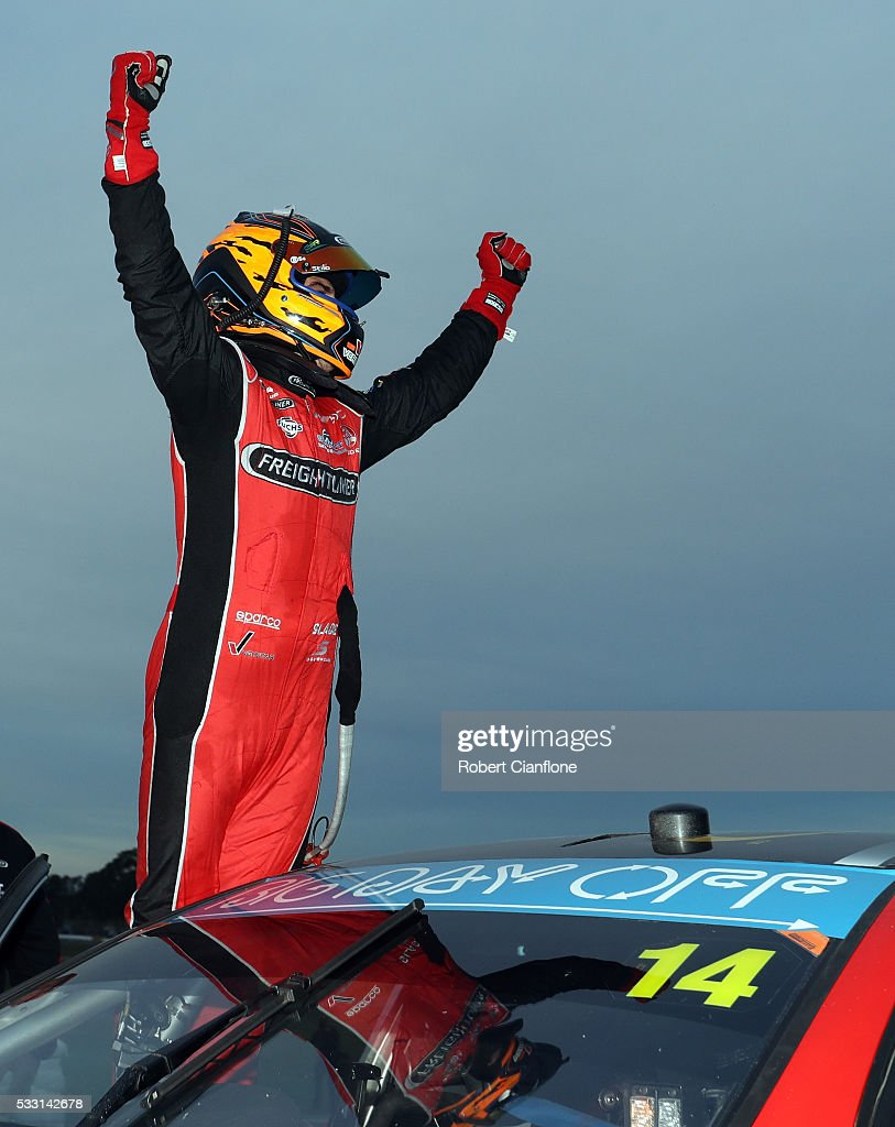 Tim Slade driver of the Freightliner Racing Holden celebrates after winning Race 10 at the V8 Supercars Winton round at Winton Raceway on May 21 2016...