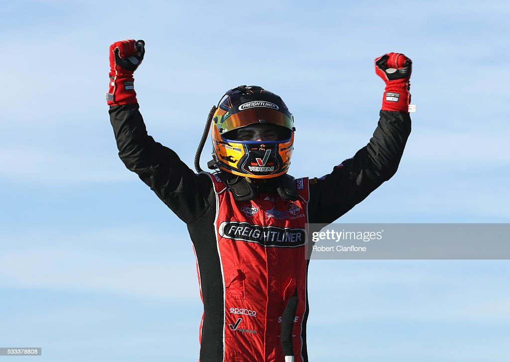 Tim Slade driver of the Freightliner Racing Holden celebrates after winning Race 11 during the V8 Supercars Winton round at Winton Raceway on May 22...