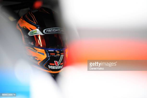 Tim Slade driver of the Freightliner Racing Holden Commodore VF during qualifying for race 3 for the Tasmania SuperSprint which is part of the...