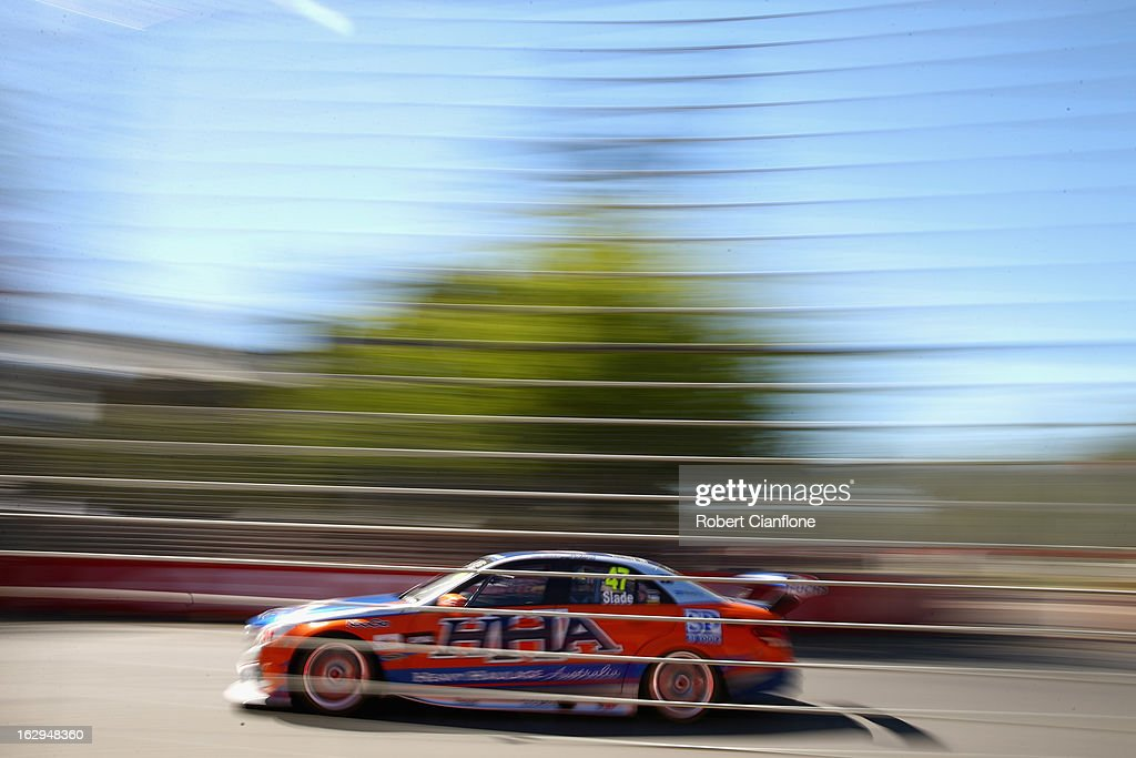 Tim Slade drives the #47 Heavy Haulage Racing Mercedes during race one of the Clipsal 500, which is round one of the V8 Supercar Championship Series, at the Adelaide Street Circuit on March 2, 2013 in Adelaide, Australia.