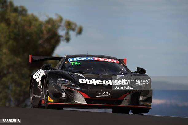 Tim Slade drives the McLaren 650s GT3 during the 2017 Bathurst 12 hour race at Mount Panorama on February 5 2017 in Bathurst Australia