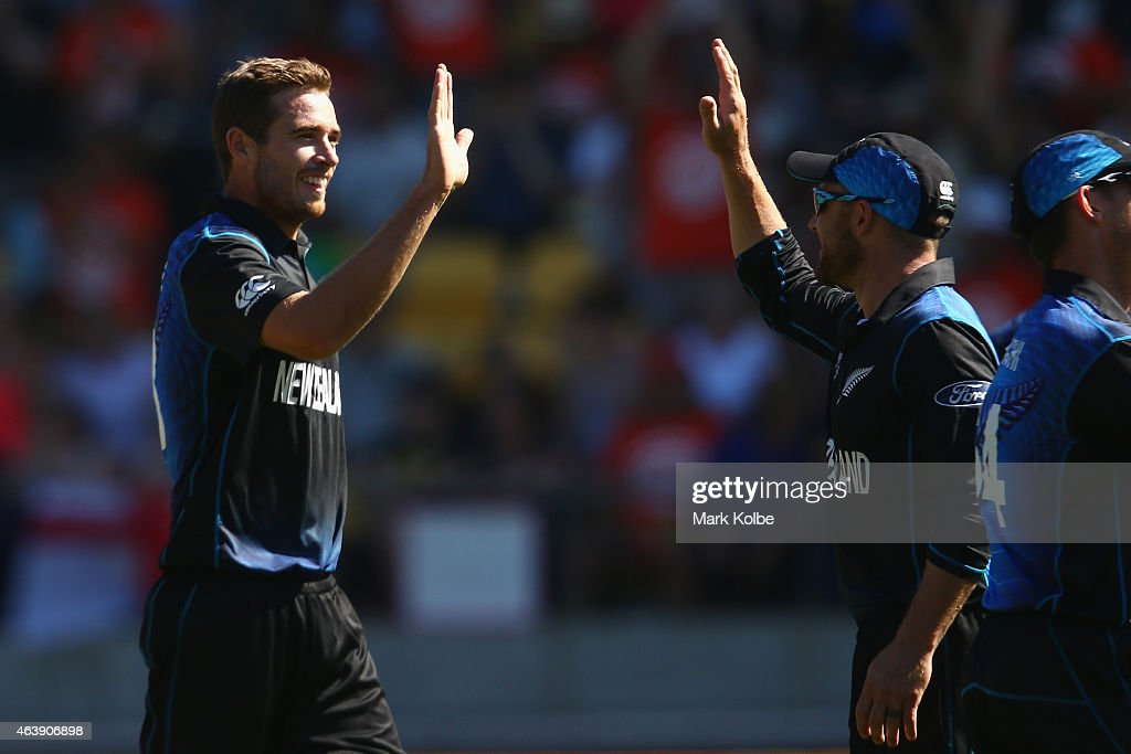 <a gi-track='captionPersonalityLinkClicked' href=/galleries/search?phrase=Tim+Southee&family=editorial&specificpeople=4205733 ng-click='$event.stopPropagation()'>Tim Southee</a> and <a gi-track='captionPersonalityLinkClicked' href=/galleries/search?phrase=Brendon+McCullum&family=editorial&specificpeople=208154 ng-click='$event.stopPropagation()'>Brendon McCullum</a> of New Zealand celebrate a wicket during the 2015 ICC Cricket World Cup match between England and New Zealand at Wellington Regional Stadium on February 20, 2015 in Wellington, New Zealand.