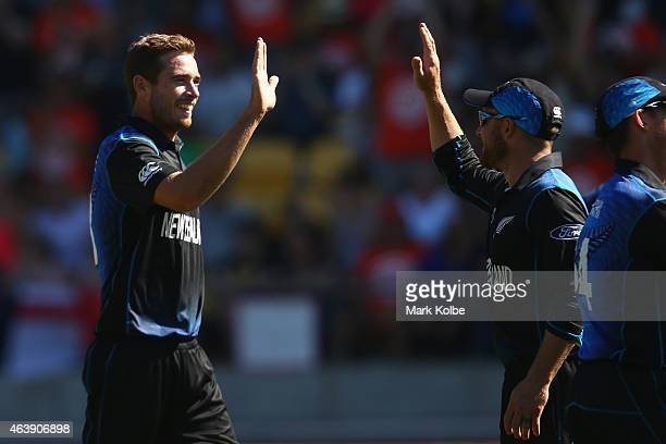 Tim Southee and Brendon McCullum of New Zealand celebrate a wicket during the 2015 ICC Cricket World Cup match between England and New Zealand at...