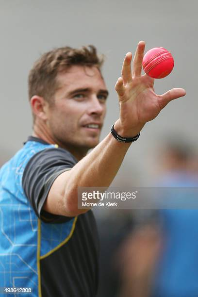 Tim Southee catches a pink ball during a New Zealand training session at Adelaide Oval on November 25 2015 in Adelaide Australia