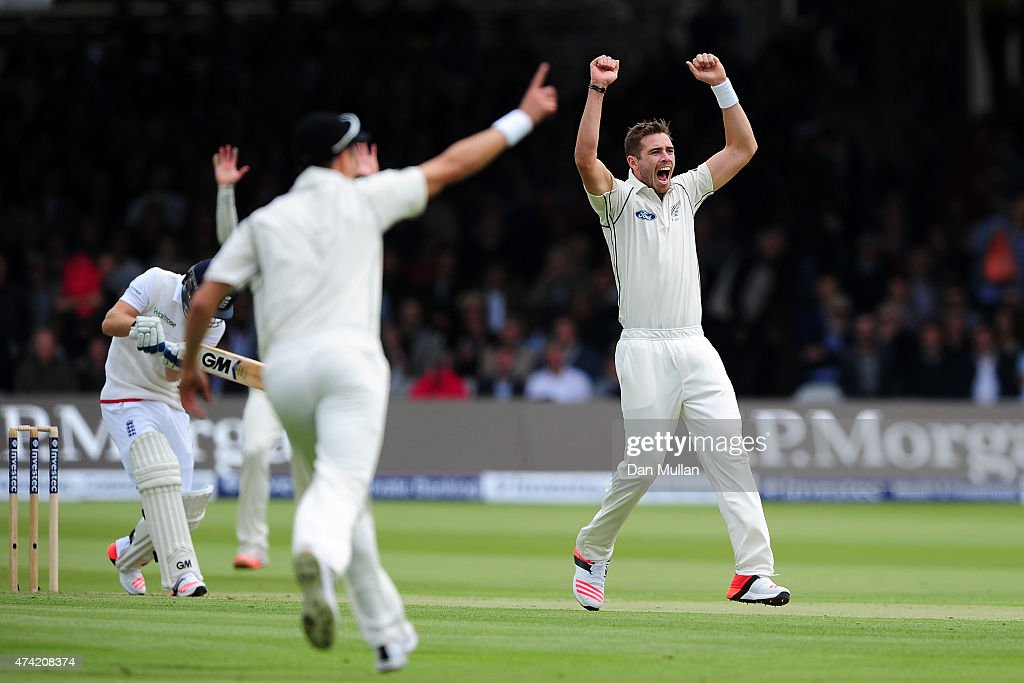 <a gi-track='captionPersonalityLinkClicked' href=/galleries/search?phrase=Tim+Southee&family=editorial&specificpeople=4205733 ng-click='$event.stopPropagation()'>Tim Southee</a> of New Zealand appeals for the wicket of Adam Lyth of England during day one of the 1st Investec Test match between England and New Zealand at Lord's Cricket Ground on May 21, 2015 in London, England.