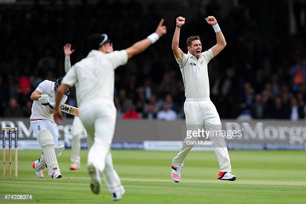 Tim Southee of New Zealand appeals for the wicket of Adam Lyth of England during day one of the 1st Investec Test match between England and New...