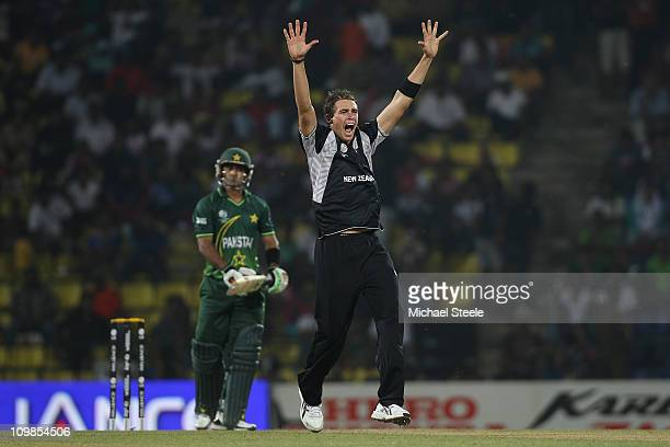 Tim Southee of New Zealand appeals successfully for the wicket of Mohammad Hafeez during the New Zealand v Pakistan 2011 ICC World Cup Group A match...