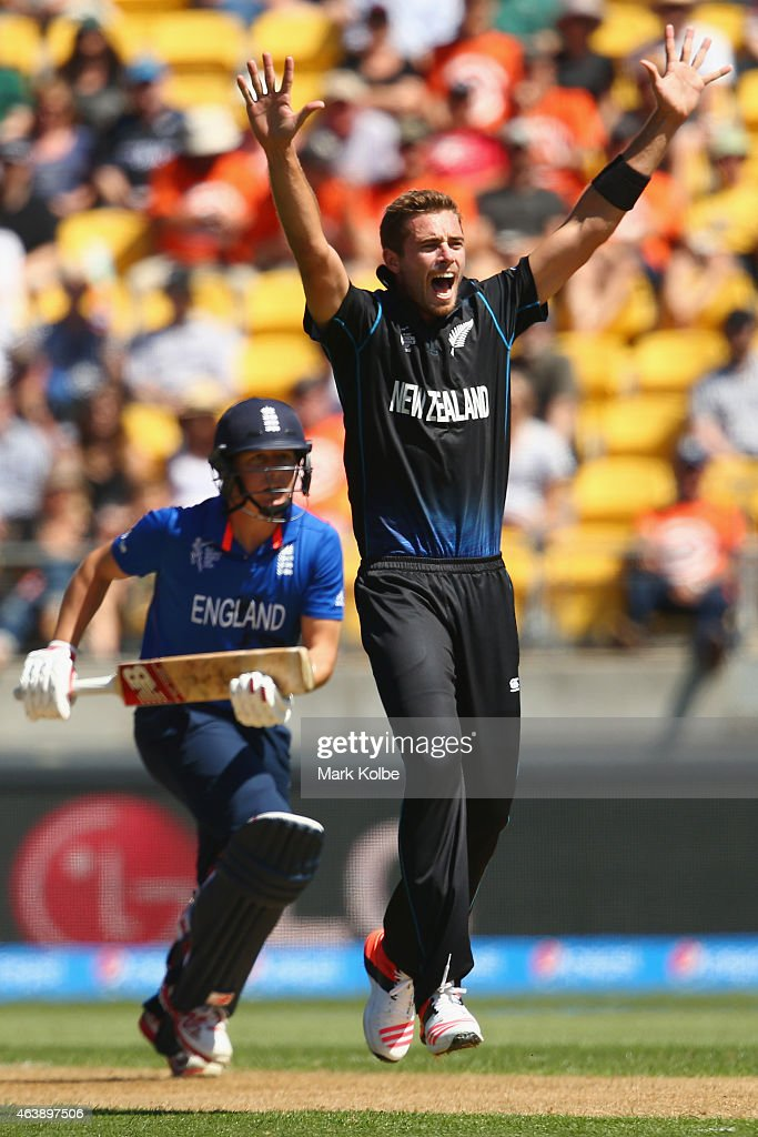 <a gi-track='captionPersonalityLinkClicked' href=/galleries/search?phrase=Tim+Southee&family=editorial&specificpeople=4205733 ng-click='$event.stopPropagation()'>Tim Southee</a> of New Zealand appeals unsuccessfully for the wicket of <a gi-track='captionPersonalityLinkClicked' href=/galleries/search?phrase=Gary+Ballance&family=editorial&specificpeople=7811120 ng-click='$event.stopPropagation()'>Gary Ballance</a> of England during the 2015 ICC Cricket World Cup match between England and New Zealand at Wellington Regional Stadium on February 20, 2015 in Wellington, New Zealand.