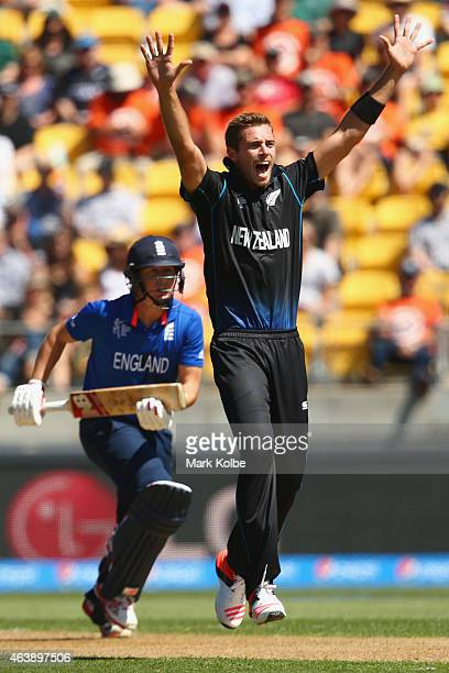 Tim Southee of New Zealand appeals unsuccessfully for the wicket of Gary Ballance of England during the 2015 ICC Cricket World Cup match between...