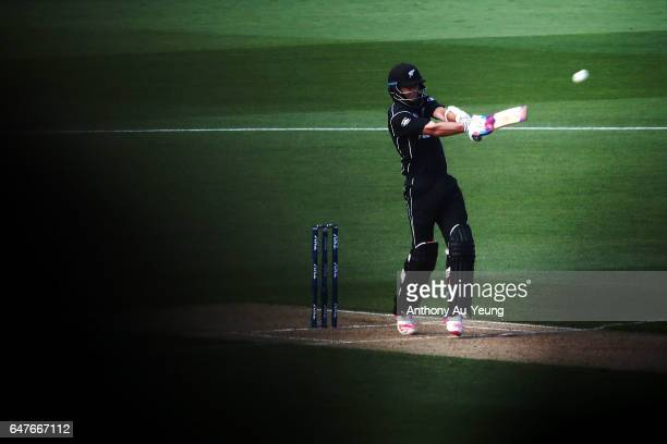 Tim Southee of New Zealand bats during game five of the One Day International series between New Zealand and South Africa at Eden Park on March 4...