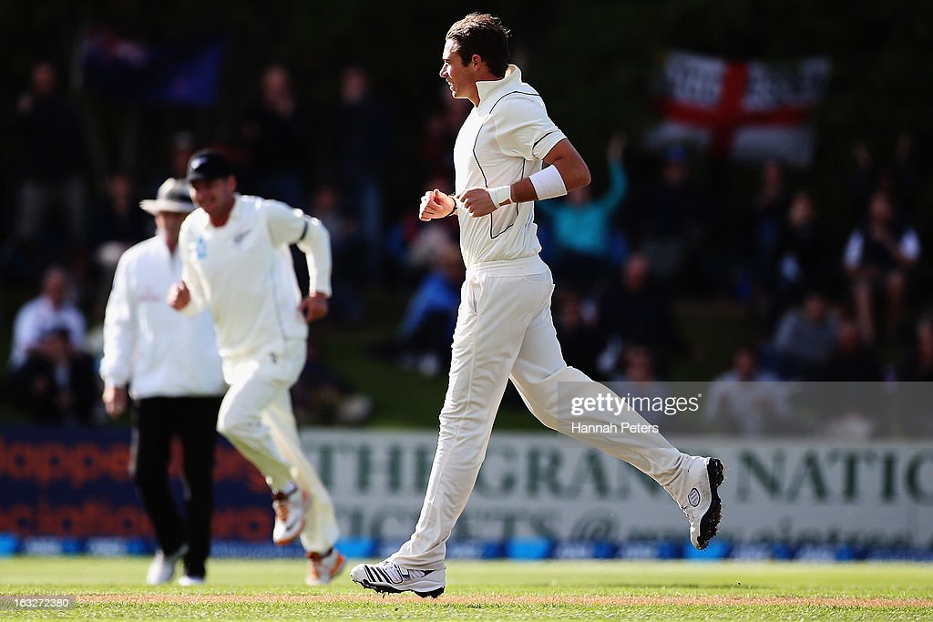 Tim Southee of New Zealand celebrates after bowling Nick Compton of England out during day two of the First Test match between New Zealand and England at University Oval on March 7, 2013 in Dunedin, New Zealand.