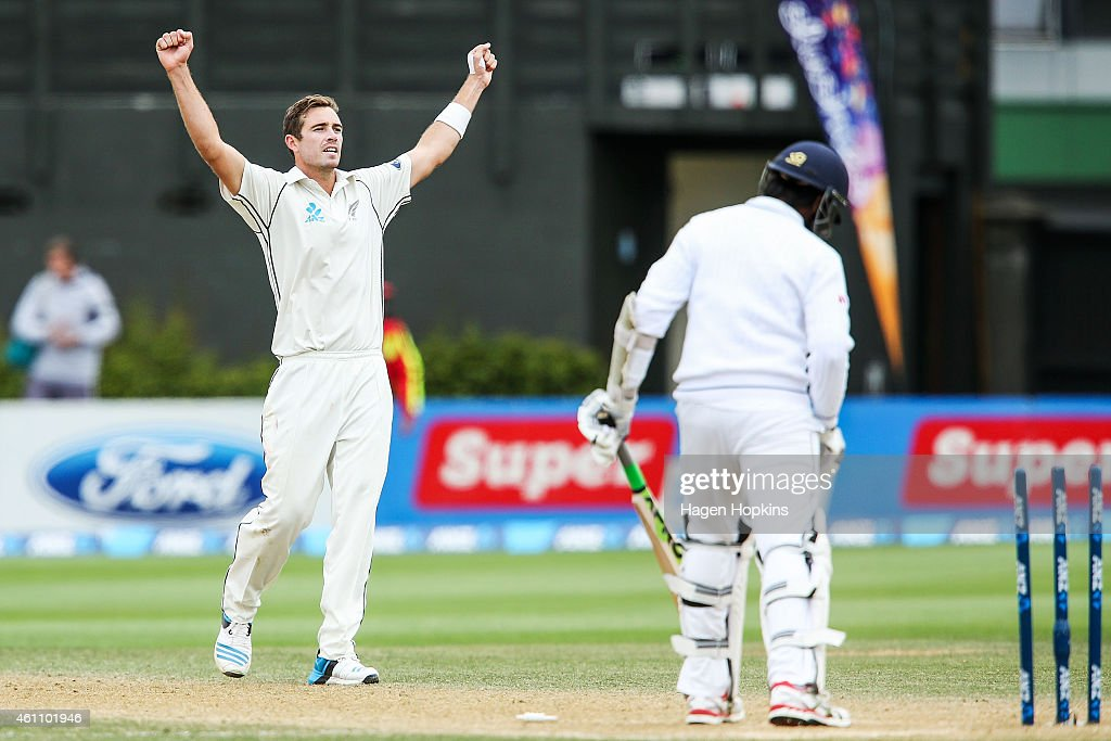 <a gi-track='captionPersonalityLinkClicked' href=/galleries/search?phrase=Tim+Southee&family=editorial&specificpeople=4205733 ng-click='$event.stopPropagation()'>Tim Southee</a> of New Zealand celebrates after dismissing Nuwan Pradeep of Sri Lanka to win the ANZ Test Series during day five of the Second Test match between New Zealand and Sri Lanka at Basin Reserve on January 7, 2015 in Wellington, New Zealand.