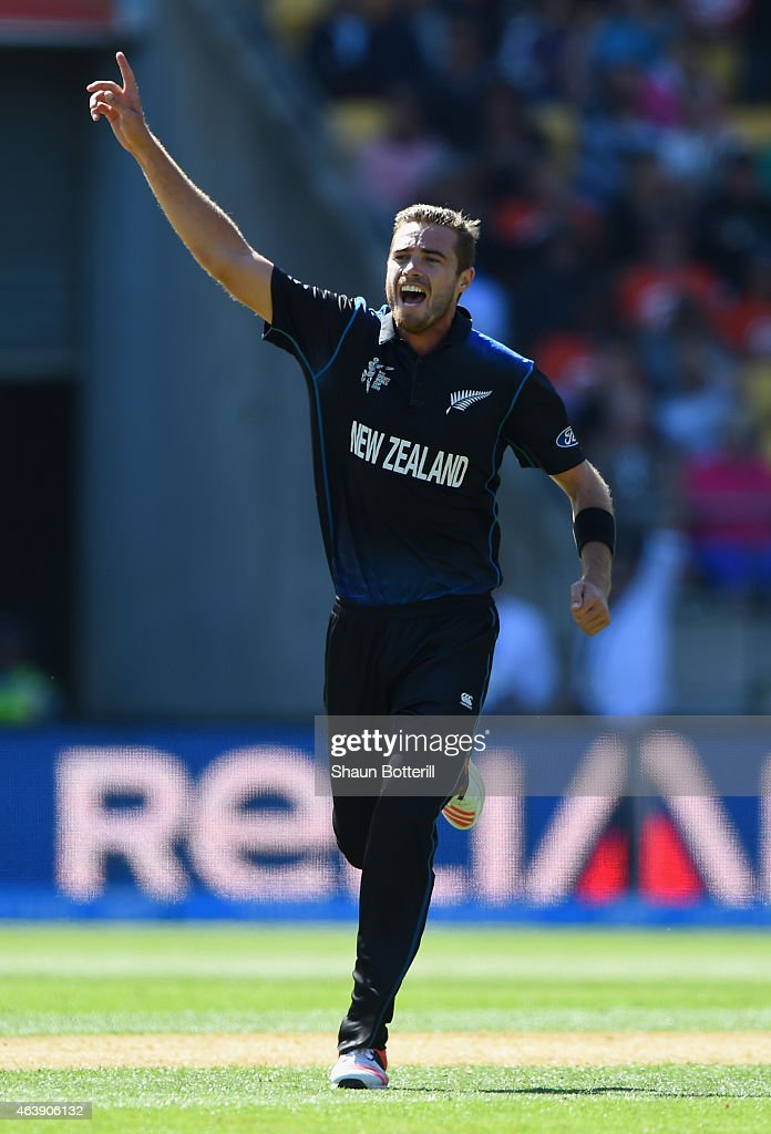 <a gi-track='captionPersonalityLinkClicked' href=/galleries/search?phrase=Tim+Southee&family=editorial&specificpeople=4205733 ng-click='$event.stopPropagation()'>Tim Southee</a> of New Zealand celebrates after taking a wicket during the 2015 ICC Cricket World Cup match between England and New Zealand at Wellington Regional Stadium on February 20, 2015 in Wellington, New Zealand.