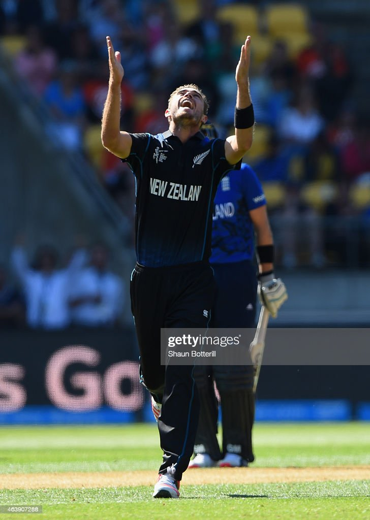 <a gi-track='captionPersonalityLinkClicked' href=/galleries/search?phrase=Tim+Southee&family=editorial&specificpeople=4205733 ng-click='$event.stopPropagation()'>Tim Southee</a> of New Zealand celebrates after taking a wicket of <a gi-track='captionPersonalityLinkClicked' href=/galleries/search?phrase=Steven+Finn+-+Cricketer&family=editorial&specificpeople=7843917 ng-click='$event.stopPropagation()'>Steven Finn</a> of England during the 2015 ICC Cricket World Cup match between England and New Zealand at Wellington Regional Stadium on February 20, 2015 in Wellington, New Zealand.