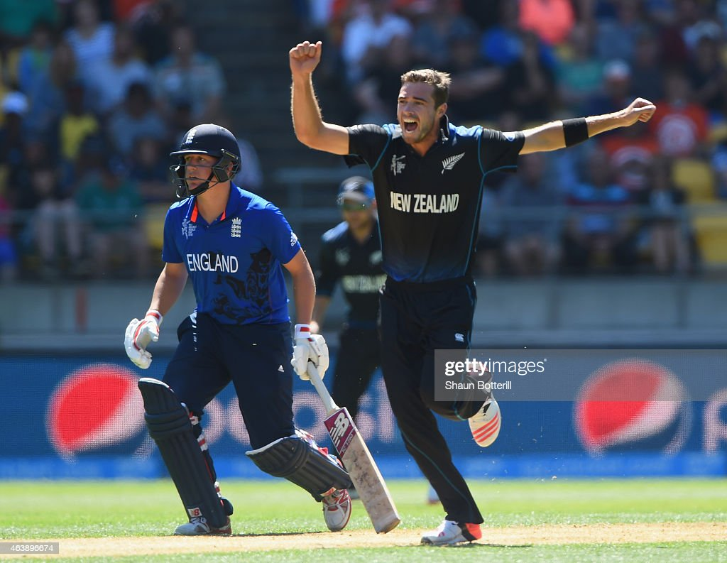 <a gi-track='captionPersonalityLinkClicked' href=/galleries/search?phrase=Tim+Southee&family=editorial&specificpeople=4205733 ng-click='$event.stopPropagation()'>Tim Southee</a> of New Zealand celebrates after taking the wicket of Moeen Ali of England during the 2015 ICC Cricket World Cup match between England and New Zealand at Wellington Regional Stadium on February 20, 2015 in Wellington, New Zealand.