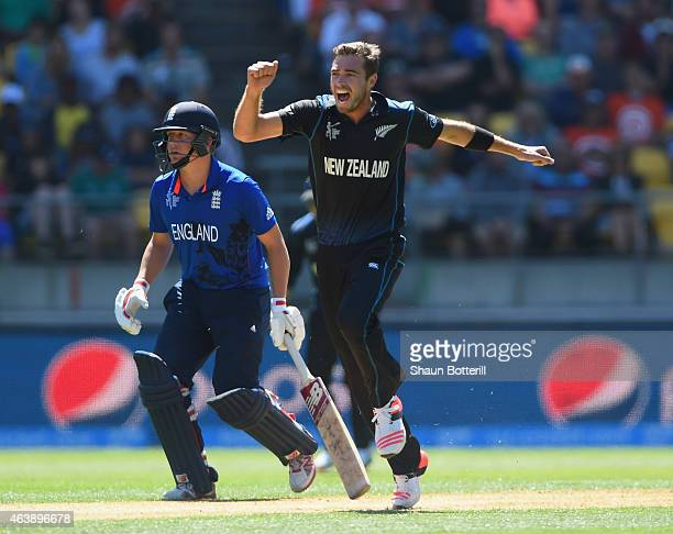 Tim Southee of New Zealand celebrates after taking the wicket of Moeen Ali of England during the 2015 ICC Cricket World Cup match between England and...