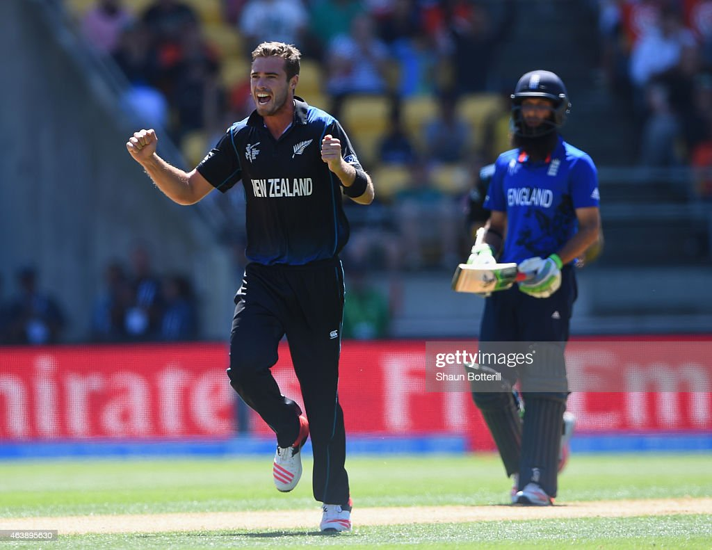 <a gi-track='captionPersonalityLinkClicked' href=/galleries/search?phrase=Tim+Southee&family=editorial&specificpeople=4205733 ng-click='$event.stopPropagation()'>Tim Southee</a> of New Zealand celebrates after taking the wicket of Ian Bell of England during the 2015 ICC Cricket World Cup match between England and New Zealand at Wellington Regional Stadium on February 20, 2015 in Wellington, New Zealand.