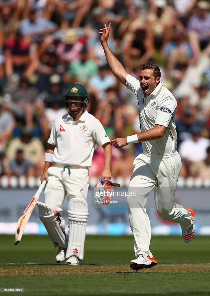 <a gi-track='captionPersonalityLinkClicked' href=/galleries/search?phrase=Tim+Southee&family=editorial&specificpeople=4205733 ng-click='$event.stopPropagation()'>Tim Southee</a> of New Zealand celebrates after taking the wicket of Joe Burns of Australia during day one of the Test match between New Zealand and Australia at Basin Reserve on February 12, 2016 in Wellington, New Zealand.