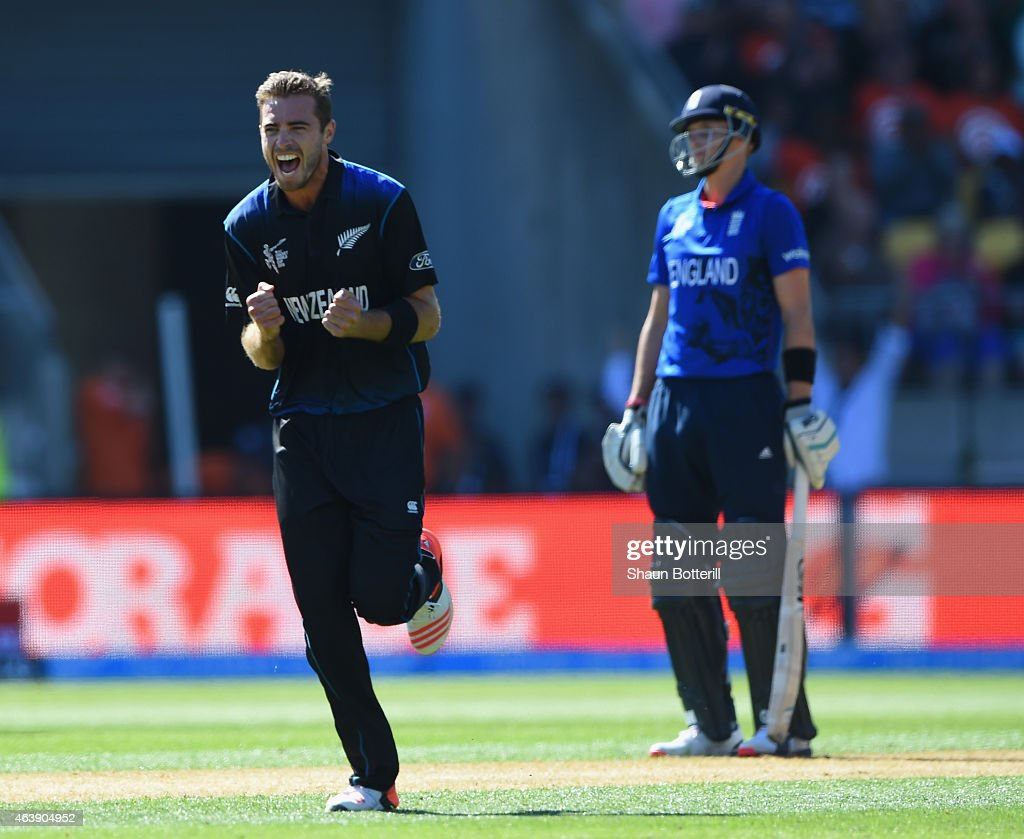 <a gi-track='captionPersonalityLinkClicked' href=/galleries/search?phrase=Tim+Southee&family=editorial&specificpeople=4205733 ng-click='$event.stopPropagation()'>Tim Southee</a> of New Zealand celebrates after taking the wicket of <a gi-track='captionPersonalityLinkClicked' href=/galleries/search?phrase=Chris+Woakes&family=editorial&specificpeople=4444585 ng-click='$event.stopPropagation()'>Chris Woakes</a> of England during the 2015 ICC Cricket World Cup match between England and New Zealand at Wellington Regional Stadium on February 20, 2015 in Wellington, New Zealand.