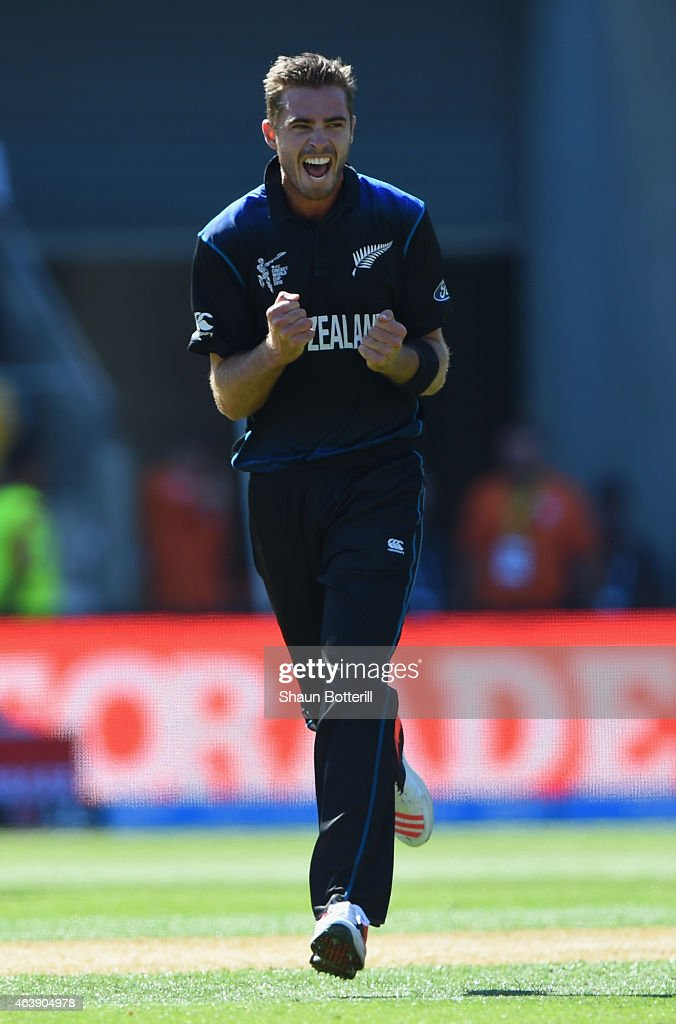 <a gi-track='captionPersonalityLinkClicked' href=/galleries/search?phrase=Tim+Southee&family=editorial&specificpeople=4205733 ng-click='$event.stopPropagation()'>Tim Southee</a> of New Zealand celebrates after taking the wicket of Chris Woakes of England during the 2015 ICC Cricket World Cup match between England and New Zealand at Wellington Regional Stadium on February 20, 2015 in Wellington, New Zealand.