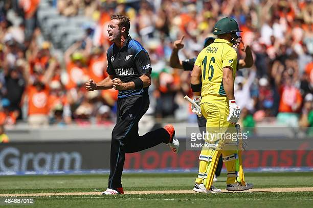 Tim Southee of New Zealand celebrates taking the wicket of Aaron Finch of Australia during the 2015 ICC Cricket World Cup match between Australia and...